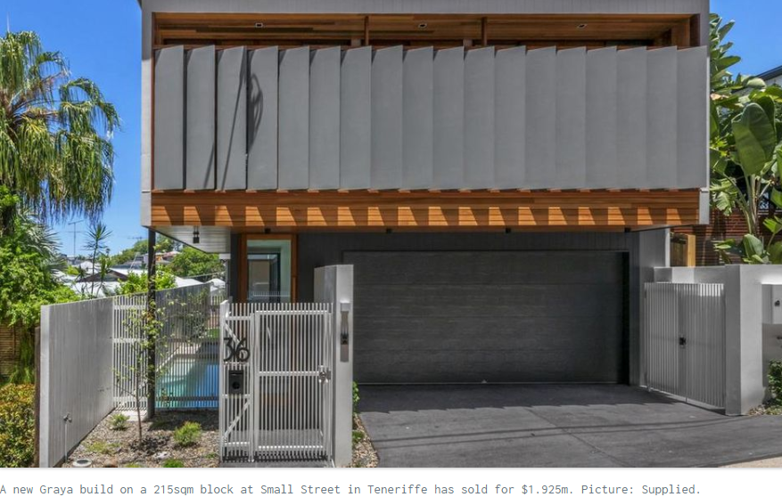 Brisbane real estate: New home on tiny Teneriffe block sells for $1.925m